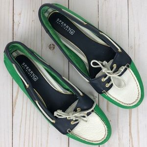 Sperry Top Sider Leather Green Blue Shoes 9.5M